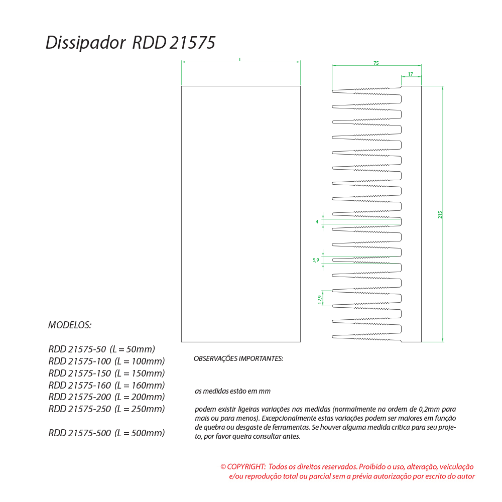 Dissipador de calor RDD 21575-150