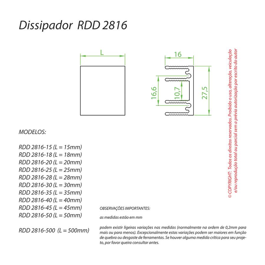 Dissipador de Calor RDD 2816-25