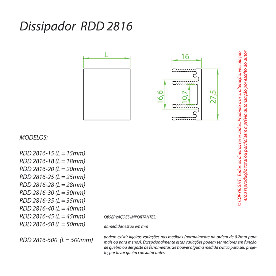 Dissipador de Calor RDD 2816-40