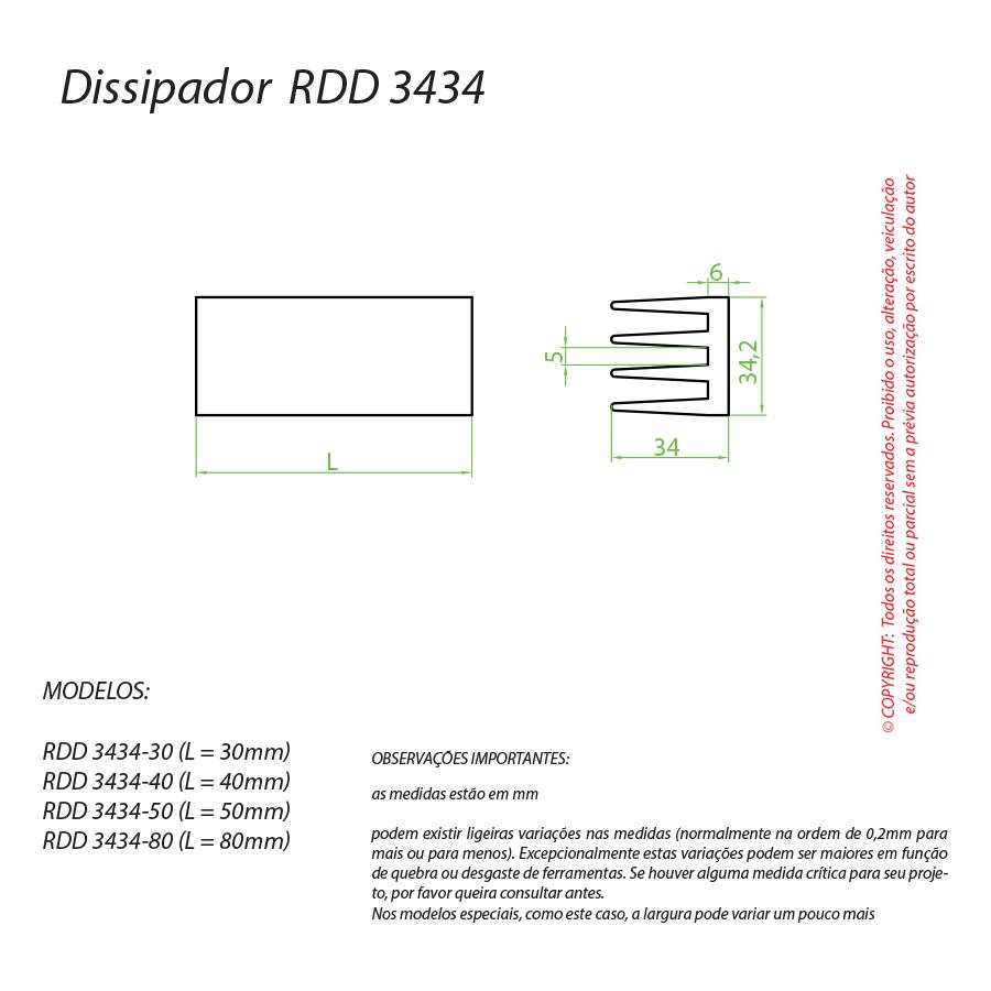 Dissipador de Calor RDD 3434-50