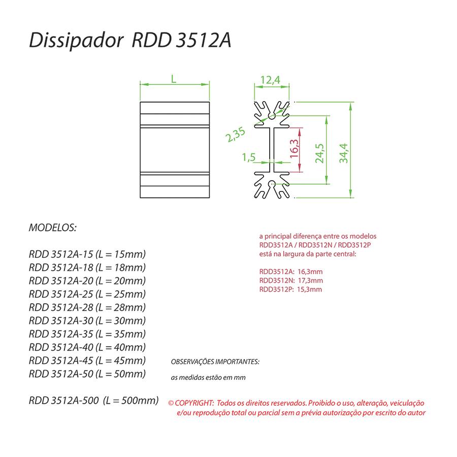 Dissipador de Calor RDD 3512A-25