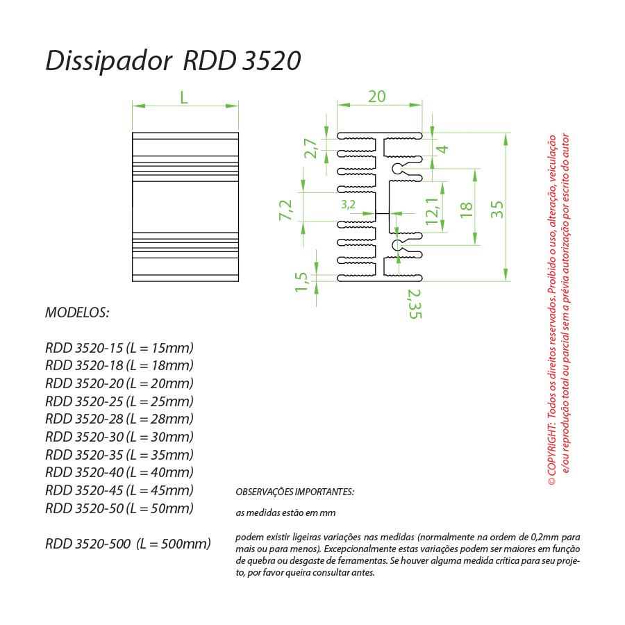 Dissipador de Calor RDD 3520-45