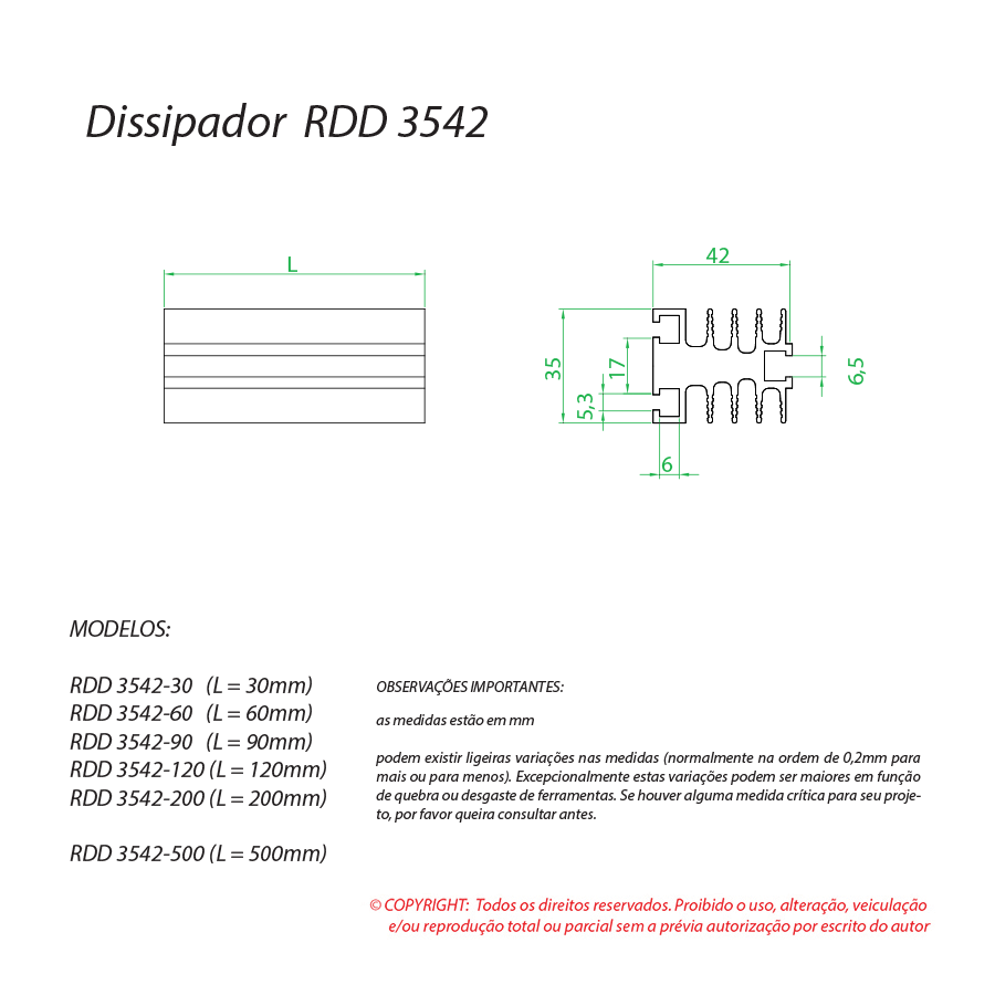 Dissipador de calor RDD 3542-90