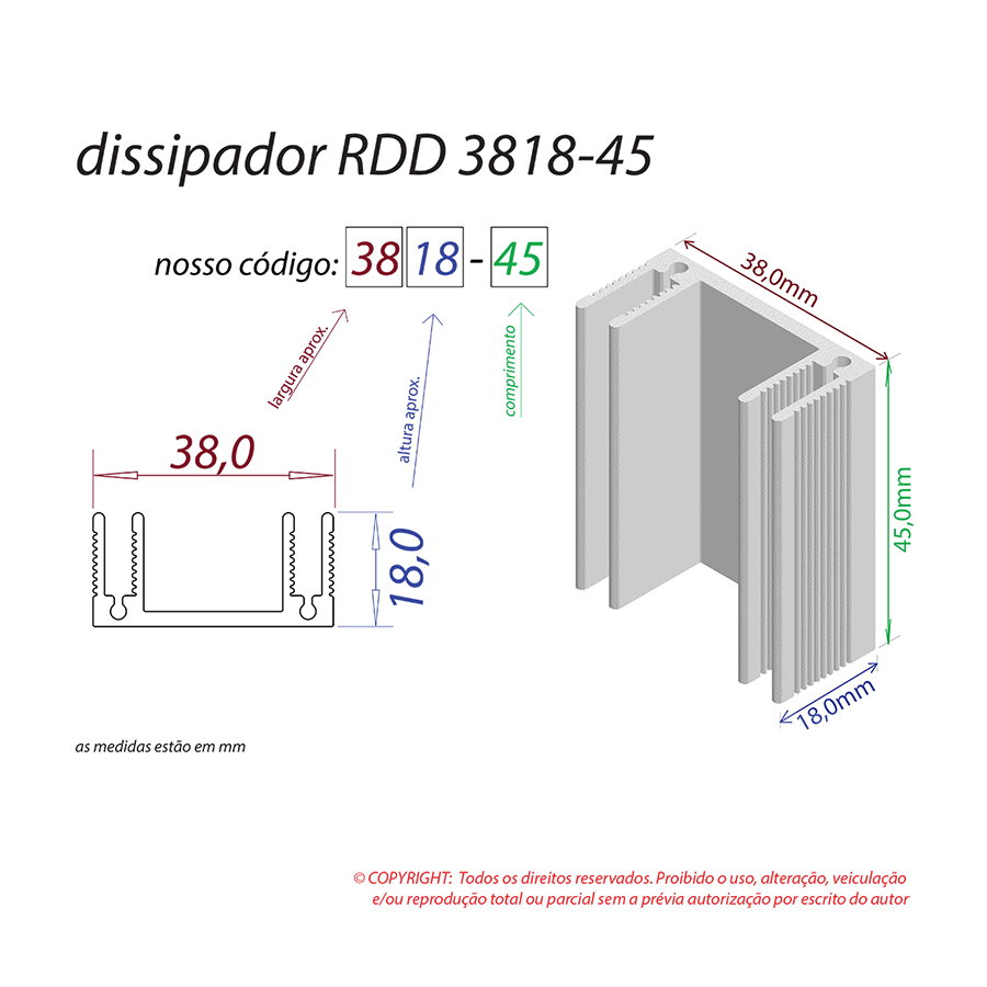 Dissipador de Calor RDD 3818-45