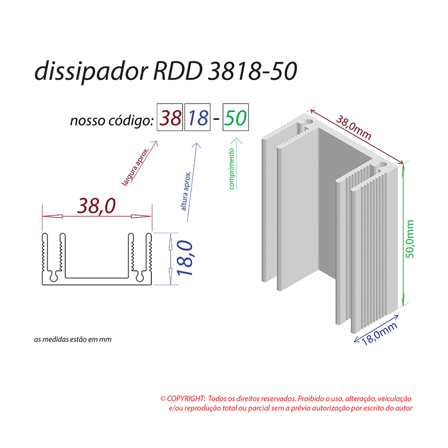 Dissipador de Calor RDD 3818-50