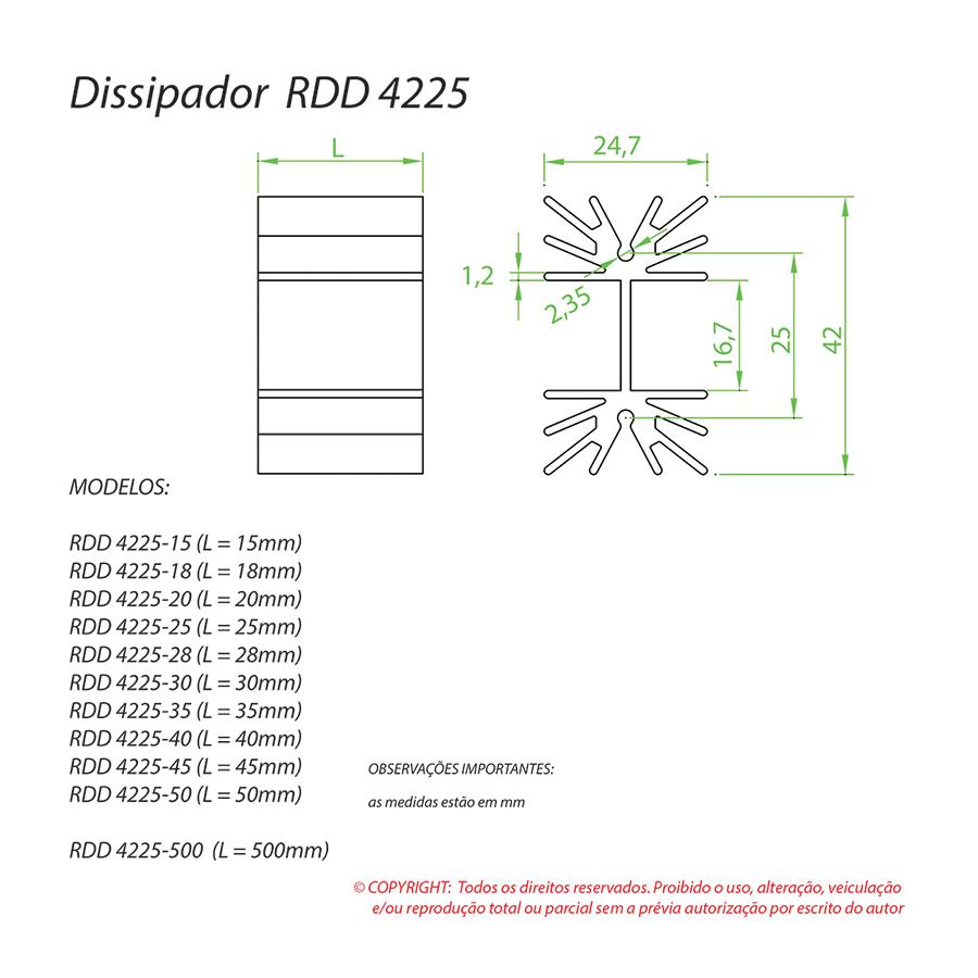Dissipador de Calor RDD 4225-45