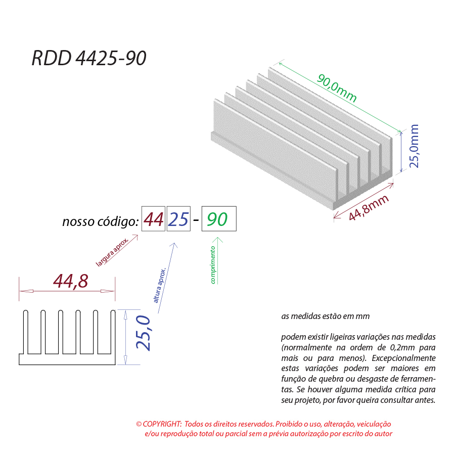 Dissipador de Calor RDD 4425-90