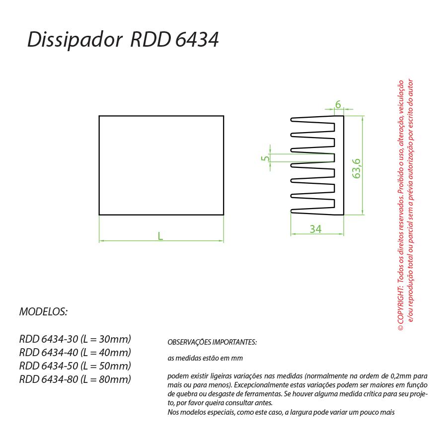 Dissipador de Calor RDD 6434-80