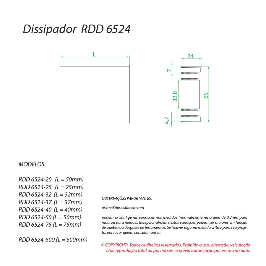 Dissipador de calor RDD 6524-40