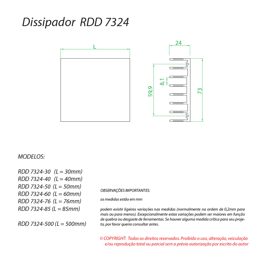 Dissipador de Calor  RDD 7324-200