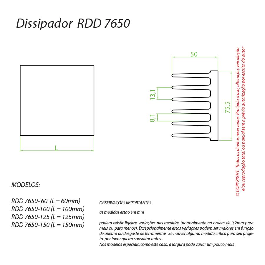 Dissipador de Calor RDD 7650-60