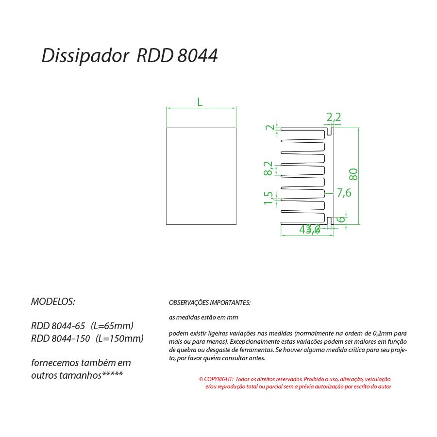 Dissipador de calor RDD 8044-150