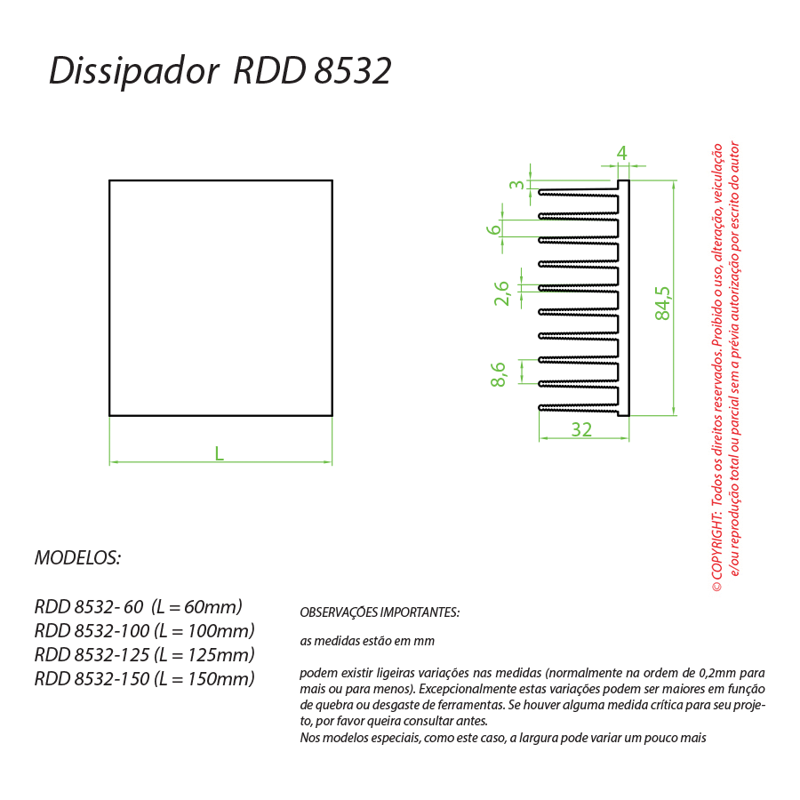 Dissipador de Calor RDD 8532-150
