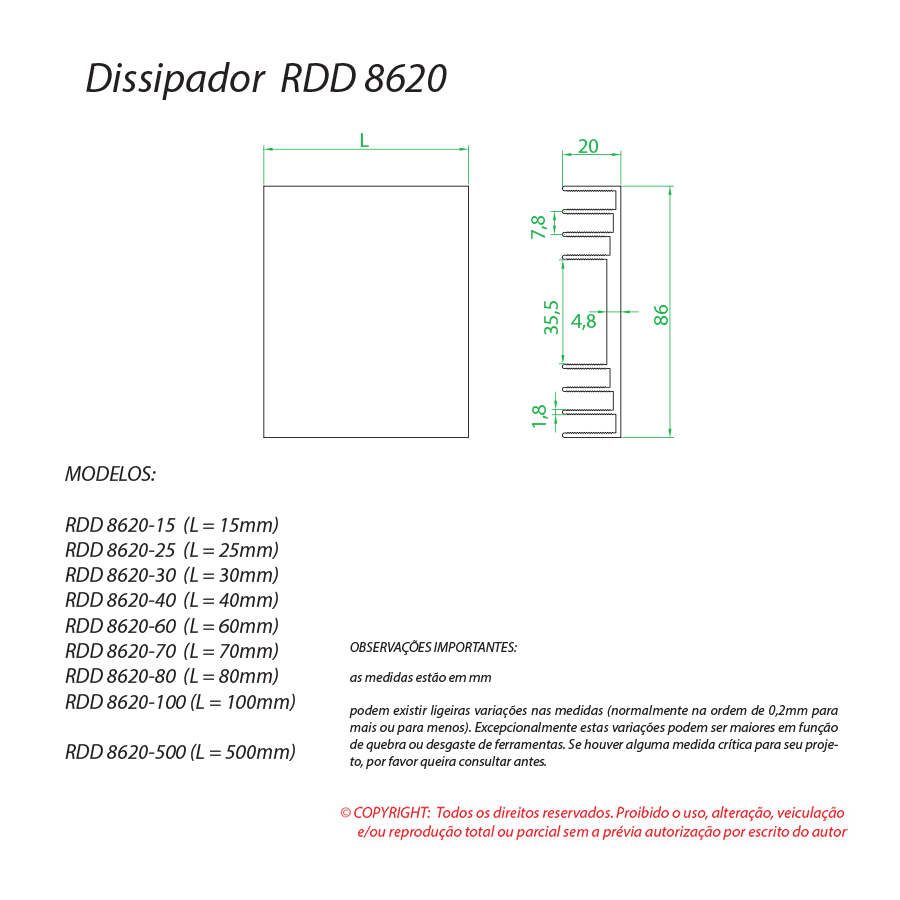 Dissipador de calor RDD 8620-60