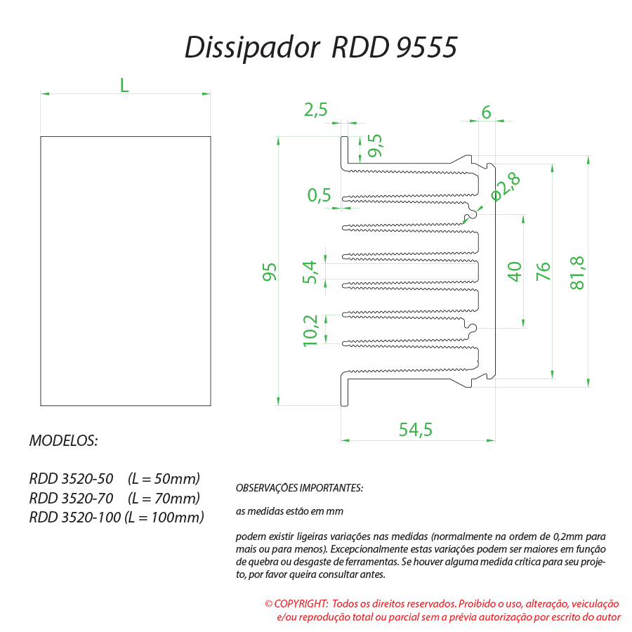 Dissipador de calor RDD 9555-50