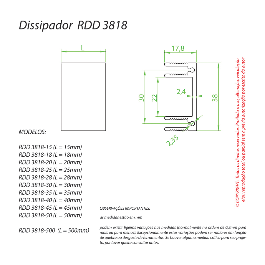 Dissipador de Calor RDD 3818-500