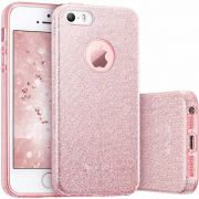 Capa iPhone Se / 5s / 5 Glitter Dupla Proteção Rosa