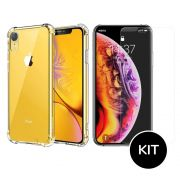 Capa iPhone Xr Transparente Anti Impacto + Película Vidro