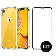 Capa iPhone Xr Transparente Anti Impacto + Película Vidro 3D