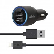 Carregador Veicular iPhone Belkin Duplo com Cabo Lightning - Preto
