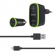 Kit Carregador iPhone Belkin 2 em 1 - Veicular + Tomada + Cabo Lightning