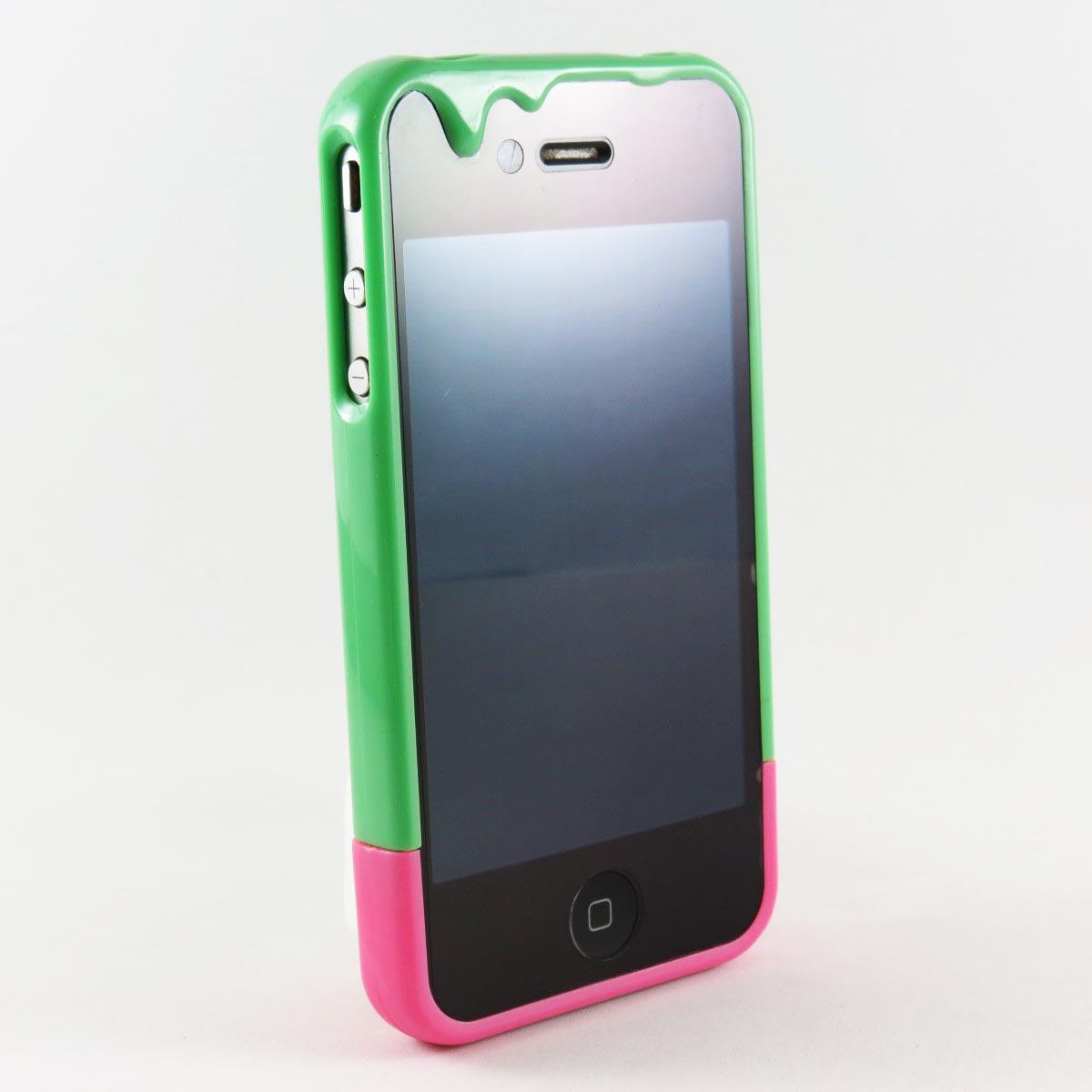 Capa iPhone 4 / 4s - Sorvete / Doce - Verde e Rosa