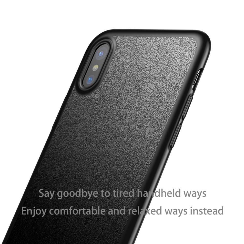 Capa iPhone X - Baseus - Silicone Slim Fina com Apoio de Metal