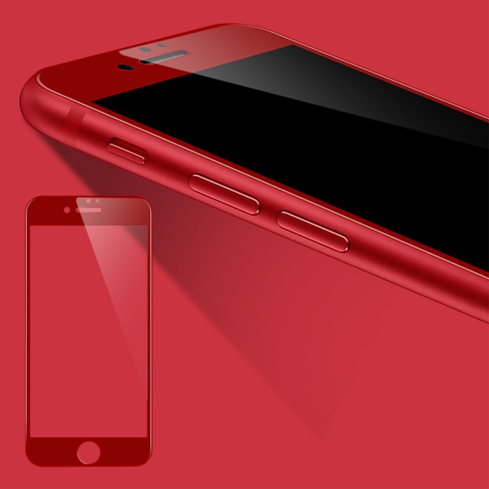 Película de Vidro Temperado 3D com Borda - iPhone 7 - Vermelha / Red