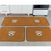Kit Tapete de Pelúcia Cozinha 3 Peças Cheff 1.35m x 48cm Emborrachado