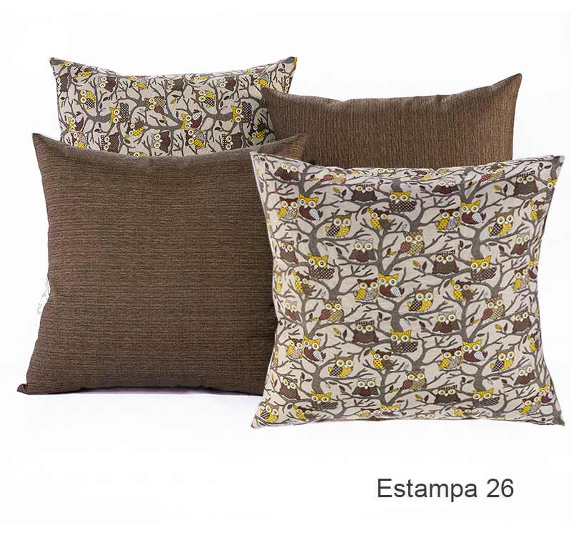 23a69f4bef00ec kit Almofadas Decorativa 04 Peças com Refil em Tecido Maquinetado