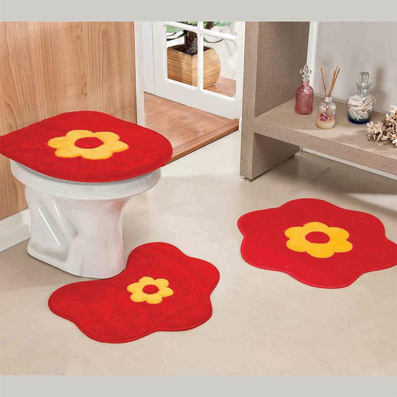 e2ade69206 Jogo de Tapete para Banheiro 03 Peças Formato Margarida - Decor ...
