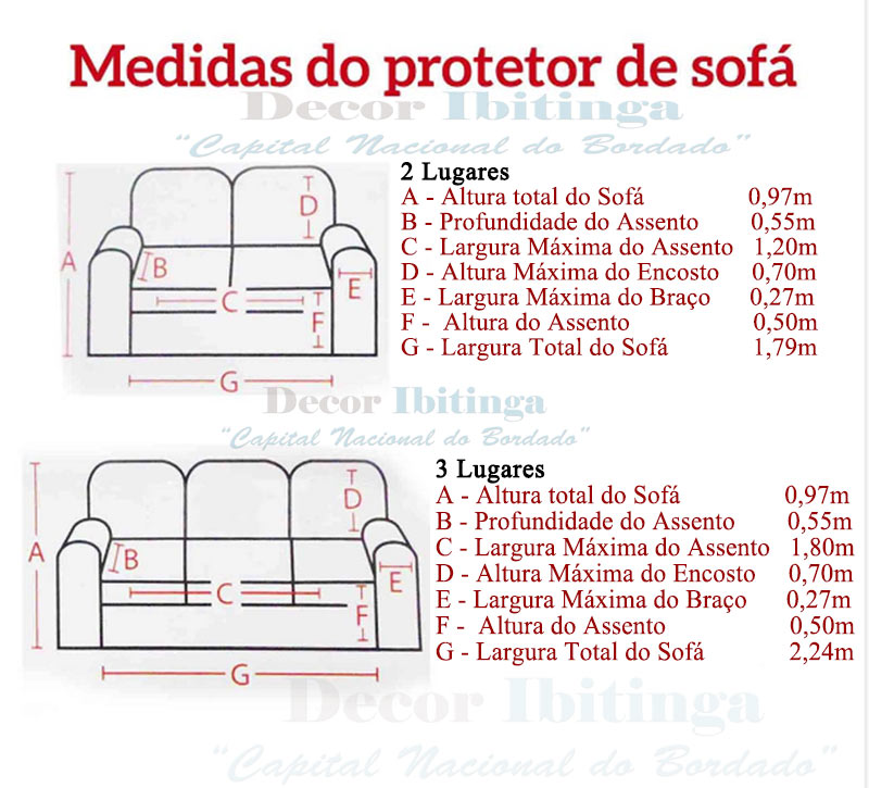 Protetor de sof dupla face 3 e 2 lugares king decor for Medidas de sofas pequenos
