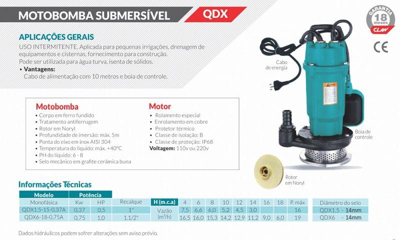 Bomba Submersível Monofásica Água Turva QDX6-18- 1.0 CV 220V