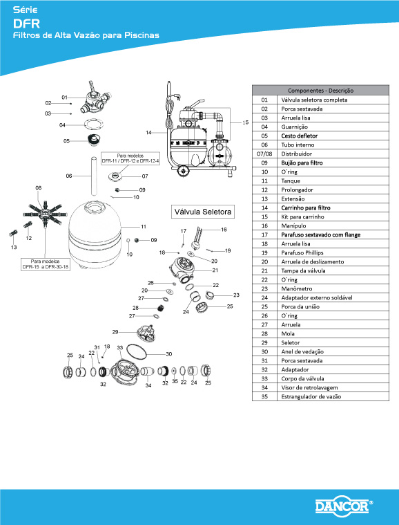 Filtro e Bomba para Piscina 1/3 CV Bivolt Mono DFR-15 - Dancor