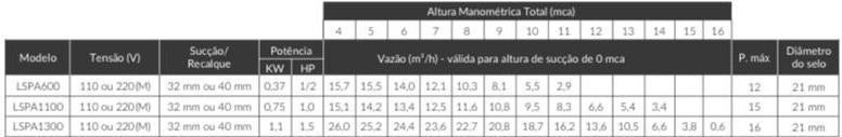 Motobomba de Hidromassagem Monofásica 0.5 HP 220v LSPA 600 - Lepono