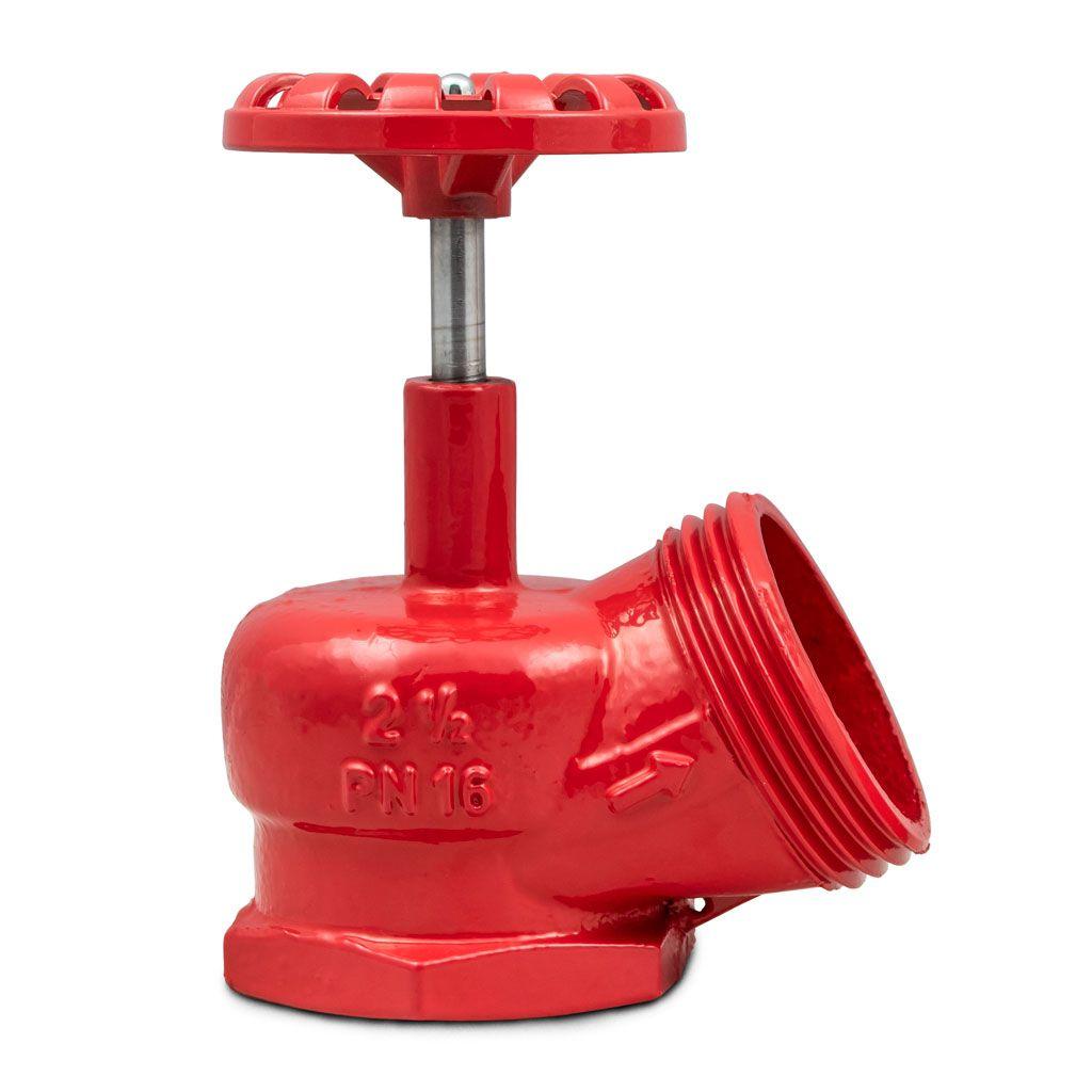 Válvula angular hidrante (registro globo) PN16 nodular 230 lbs 2.1/2'' x 45º