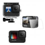 Kit Proteção - Caixa Estanque - Capa Silicone - Película Vidro - GoPro Hero9 - Telesin