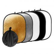Rebatedor Oval - 5 em 1 - 120 x 90cm - Refletor Fotográfico Difusor DSLR