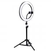 Ring Light Iluminador com Tripé, Suporte de Celular e Controle Bluetooth - 26cm