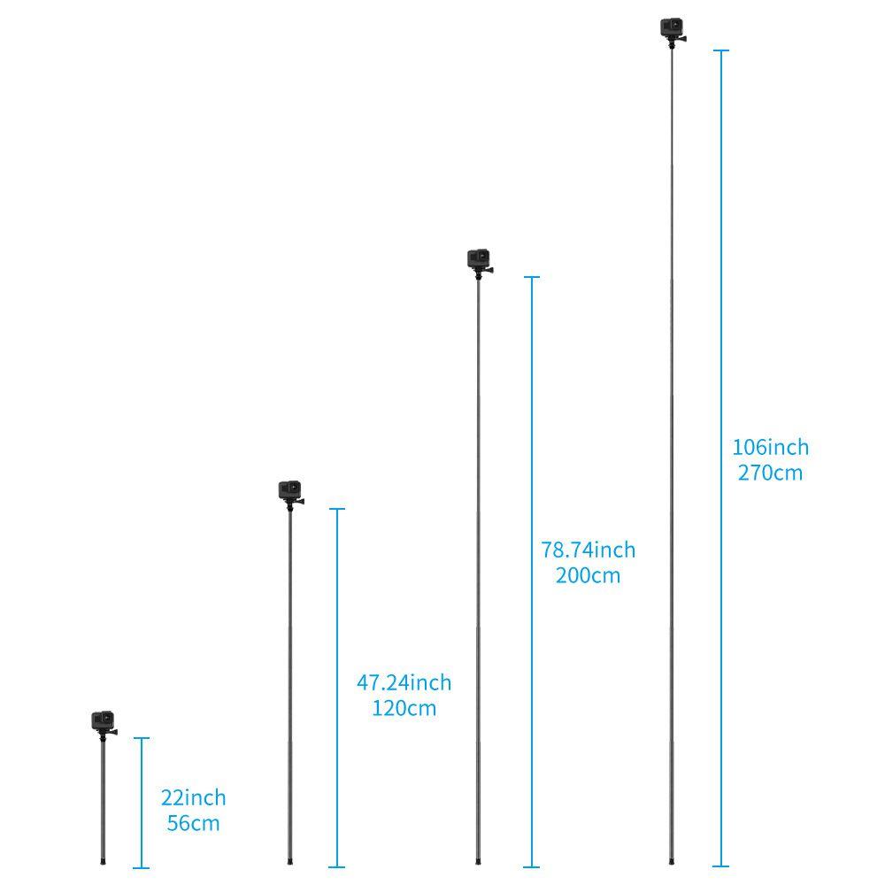Bastão Extensor - Pau de Selfie - Monopod - Fibra de Carbono - 270cm - Telesin