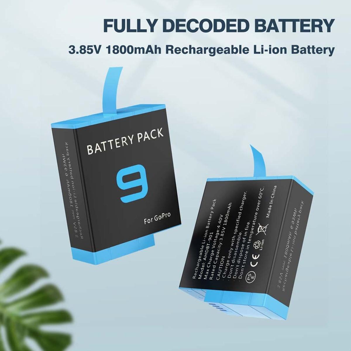 Bateria GoPro Hero9 - 4.40V - 1800mAh - Li-ion - AHDBT-901