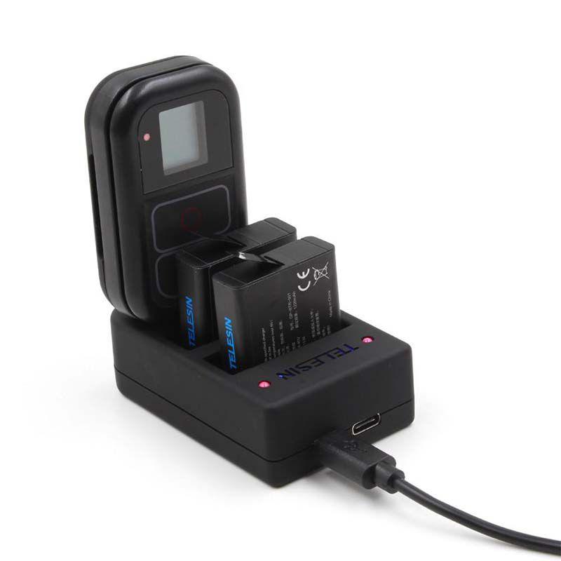 Carregador 3 em 1 - Baterias e Controle - GoPro Hero8 Hero7 Hero6 Hero5 Hero4 - Telesin