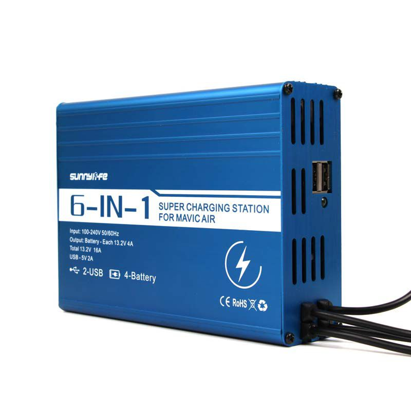 Carregador de 4 Baterias e 2 USB para Controle e Celular- Drone DJI Mavic Air