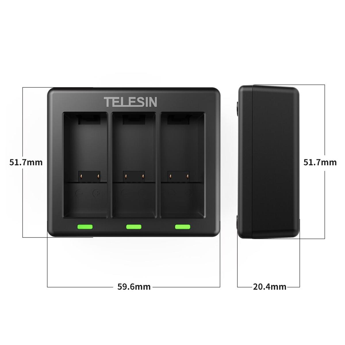 Carregador GoPro Hero9 Black - Triplo - USB Tipo C - Telesin