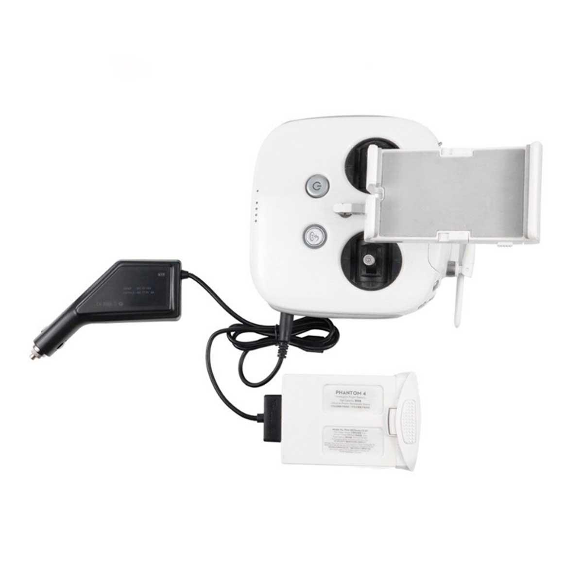 Carregador Veicular 2 em 1 - Bateria e Controle - Drone DJI Phantom 4