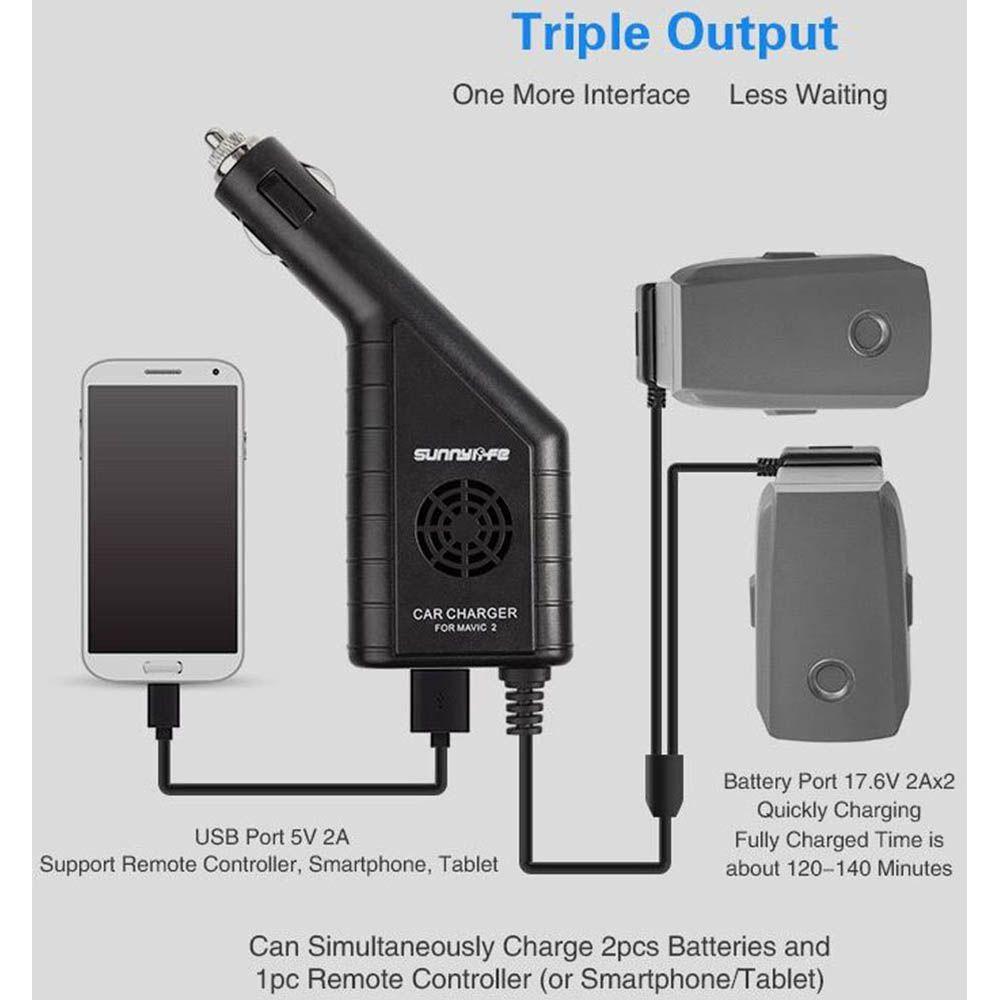 Carregador Veicular 3 em 1 - Bateria e USB - Drone DJI Mavic 2