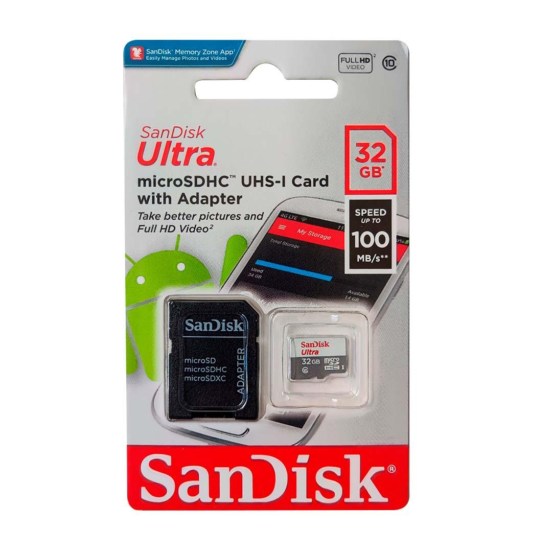 Cartão de Memória MicroSD - Sandisk Ultra 32GB 100 MB/s Classe 10