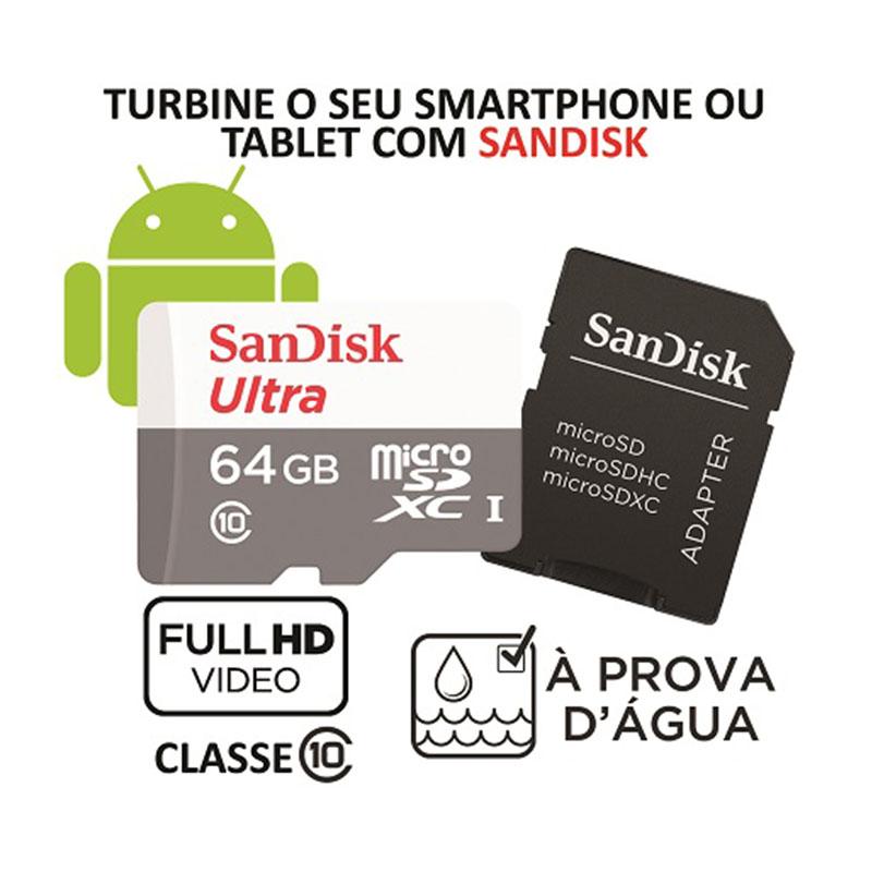 Cartão de Memória MicroSD - Sandisk Ultra 64GB 80 MB/s Classe 10