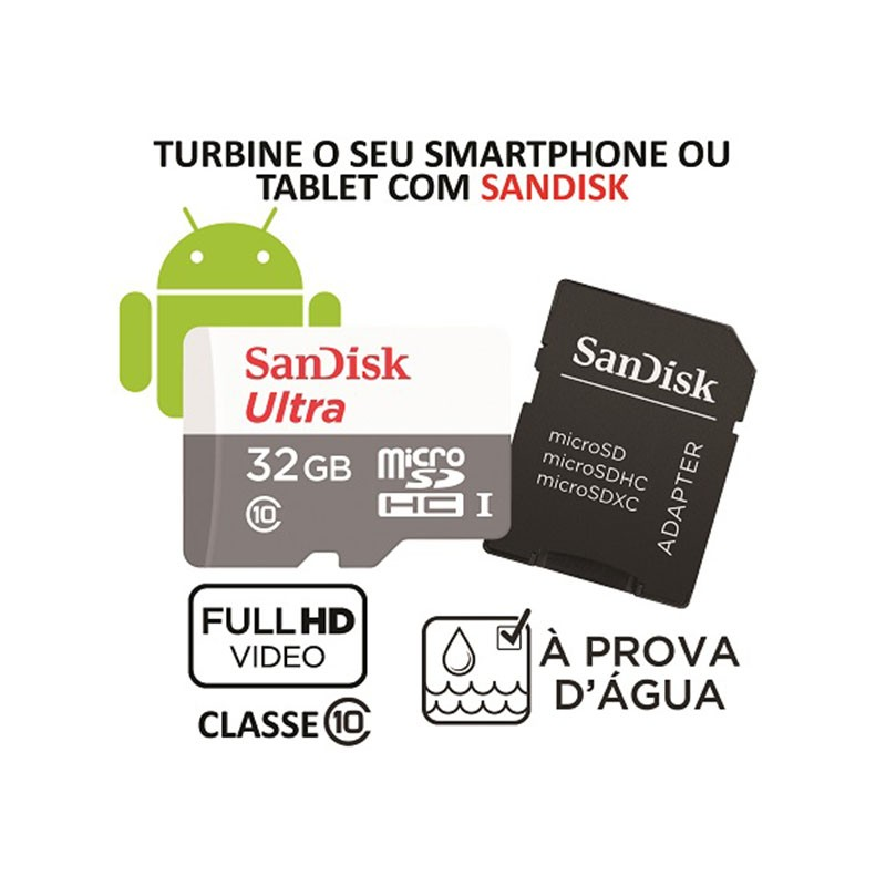 Cartão de Memória MicroSD - Sandisk Ultra 32GB 80 MB/s Classe 10