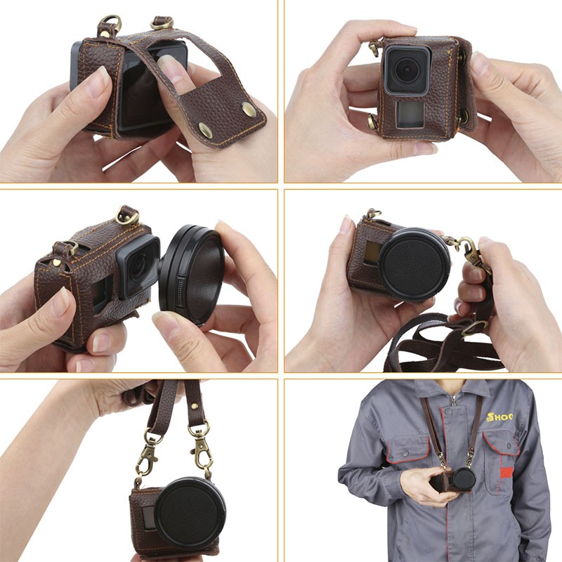 Case de Couro com Filtro UV - GoPro Hero5 Hero6 Hero7 Black